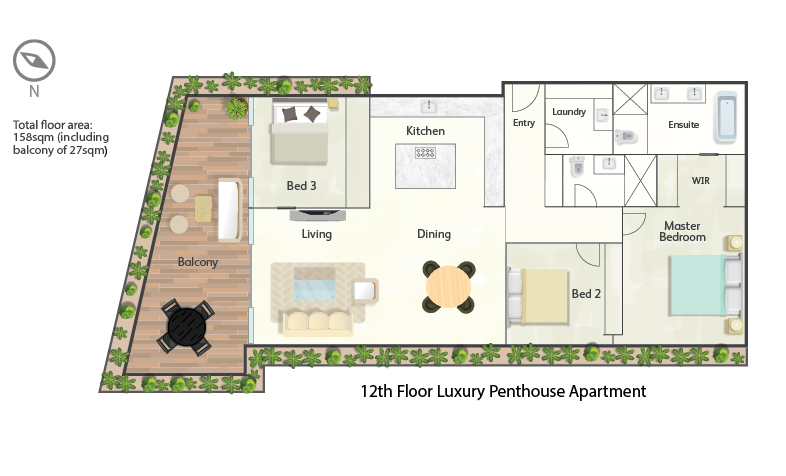 Palm Beach penthouse floorplan
